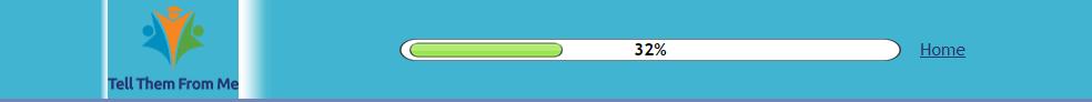 Percentage of survey complete on the progress bar
